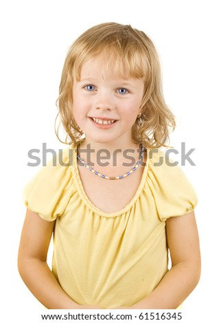 Portrait of a happy little girl on the white isolated background. - stock photo