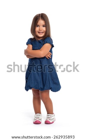 Portrait of a happy little girl on white background looking at the camera smiling - stock photo