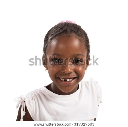 Portrait of a happy little girl smiling - stock photo