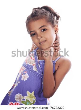Portrait of a happy little girl, studio shot - stock photo