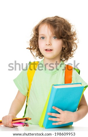 portrait of a happy little girl with books and colorful pencils, isolated over white - stock photo