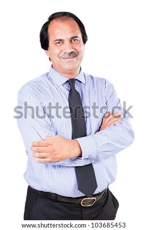 portrait of a happy mature businessman isolated on white - stock photo