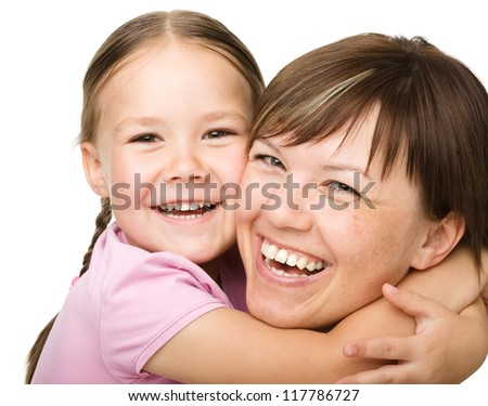 Portrait of a happy mother hugging her daughter, isolated over white - stock photo