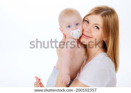 portrait of a happy mother with her son. emotions, the joy of fellowship. family - stock photo