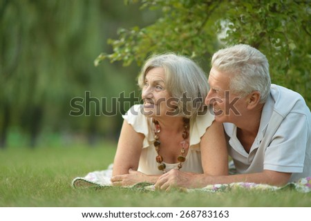 Portrait of a happy nice mature couple - stock photo