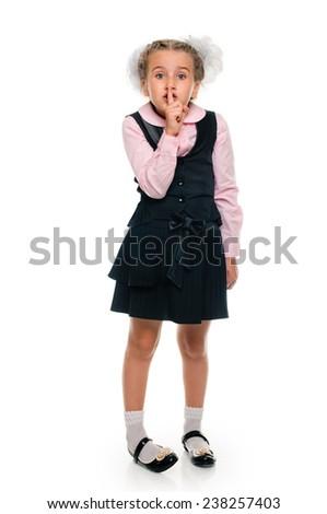 Portrait of a happy schoolgirl over white background - stock photo
