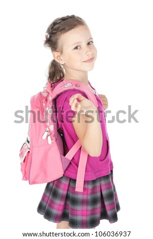 Portrait of a happy schoolgirl with pink backpack over white - stock photo