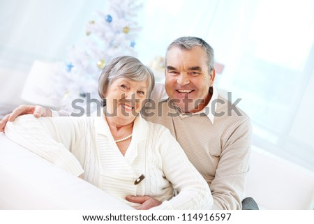 Portrait of a happy senior couple looking at camera and smiling - stock photo