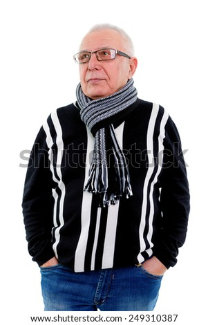Portrait of a happy senior man with glasses isolated against white - stock photo
