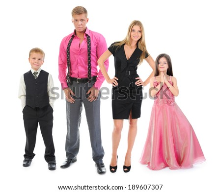 Portrait of a happy smiling family. Isolated on white background - stock photo