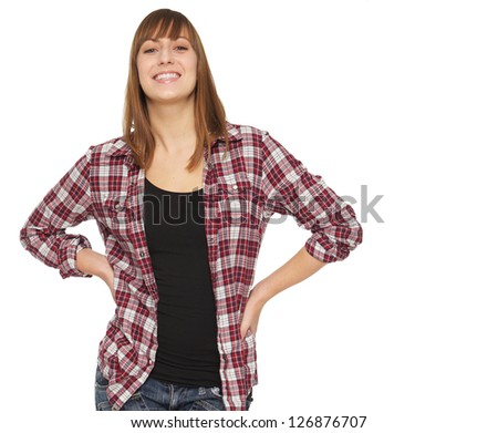 Portrait of a happy smiling young woman - stock photo