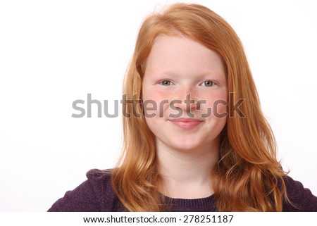 Portrait of a happy teenage girl on white background - stock photo