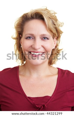 Portrait of a happy woman in her 40s - stock photo