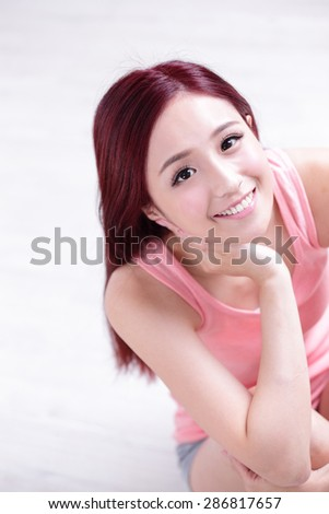 portrait of a Happy young beautiful woman relax sitting and smile to you, great for your design, asian beauty - stock photo