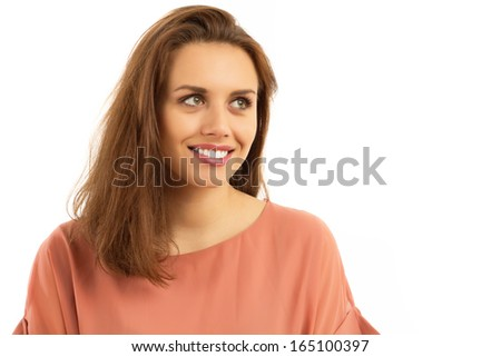 Portrait of a happy young  businesswoman - stock photo