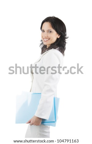 portrait of a happy young caucasian businesswoman with blue semi-translucent file on hand standing isolated over white background - stock photo