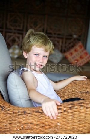 Portrait of a happy young child. - stock photo