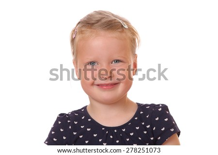 Portrait of a happy young girl on white background - stock photo