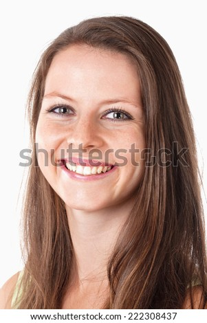 Portrait of a Happy Young Girl Smiling - Isolated on White - stock photo