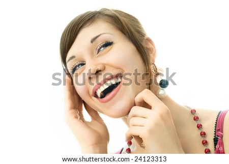 portrait of a happy young laughing woman, isolated against white background - stock photo