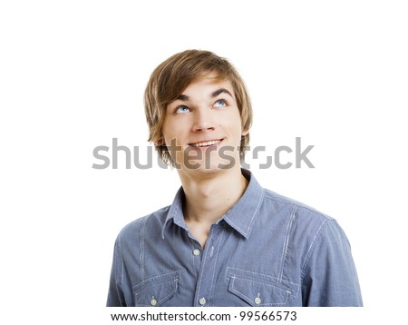 Portrait of a happy young man looking and thinking. isolated over a white background - stock photo