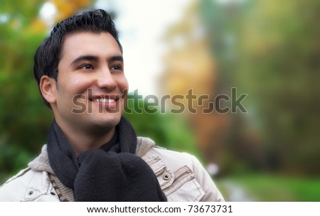 Portrait of a happy young men, autumn day - stock photo