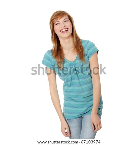 Portrait of a happy young woman. Isolated on white - stock photo