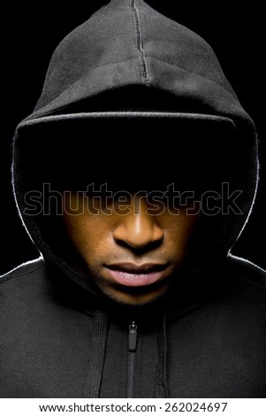 Portrait of a hooded black man tired of racial discrimination - stock photo
