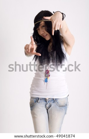 Portrait of a japanese hippie - stock photo