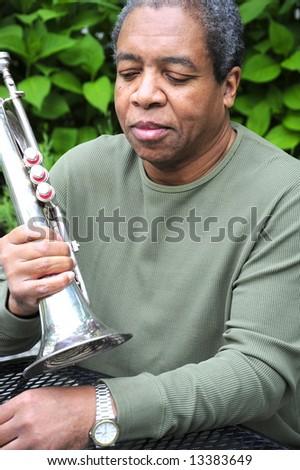 Portrait of a jazz musician. - stock photo
