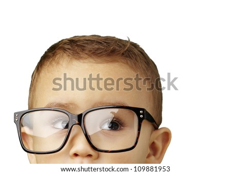 portrait of a kid wearing glasses against a white background - stock photo