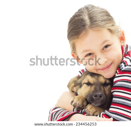 portrait of a kid with a puppy on a white background isolated - stock photo