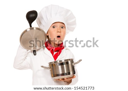 Portrait of a little boy cook holding pan with a ladle. Different occupations. Isolated over white background. - stock photo