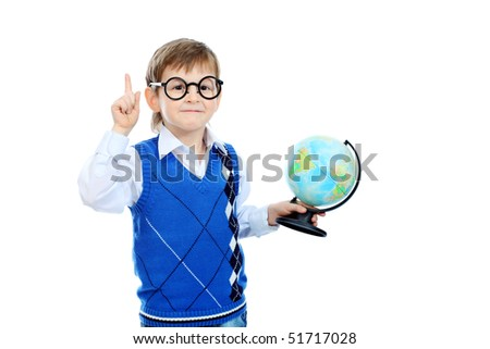 Portrait of a little boy holding a globe. Isolated over white background. - stock photo