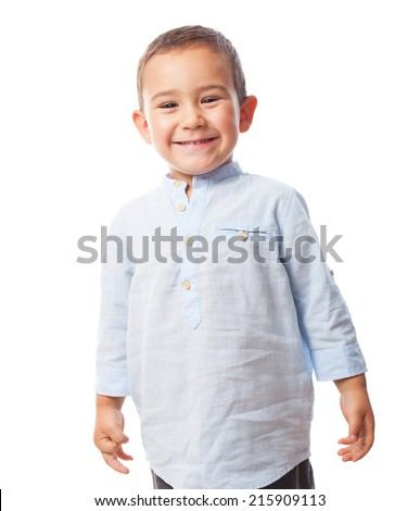 portrait of a little boy with smiling gesture - stock photo