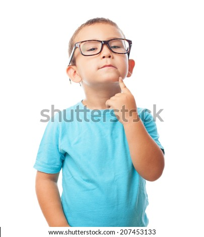 portrait of a little boy with think gesture - stock photo