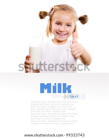 Portrait of a little girl holding a cup of milk, isolated on white - stock photo