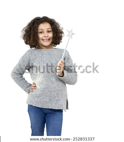 Portrait of a little girl with magic wand isolated on white - stock photo