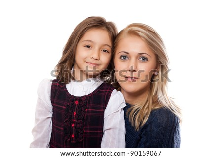 portrait of a lovely little girl and her mother, isolated on white background - stock photo