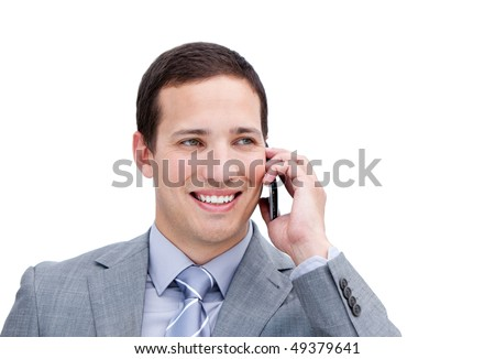 Portrait of a lucky businessman on phone against a white background - stock photo