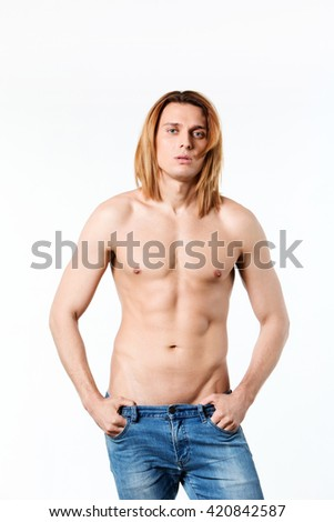 Portrait of a macho man isolated on white background. - stock photo