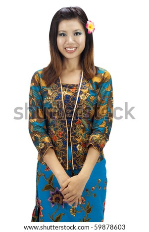 Portrait of a Malay woman on white background - stock photo
