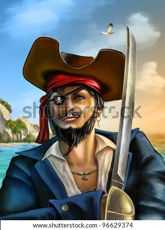 Portrait of a male pirate on a seascape at sunset. Digital hand painted illustration. - stock photo