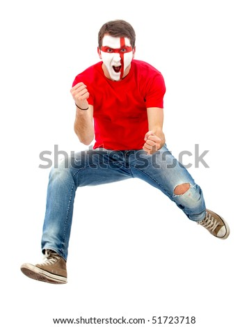 Portrait of a man celebrating with the english flag painted on his face isolated over white - stock photo