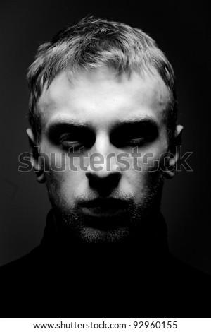 Portrait of a Man. Close up. Studio shot. - stock photo