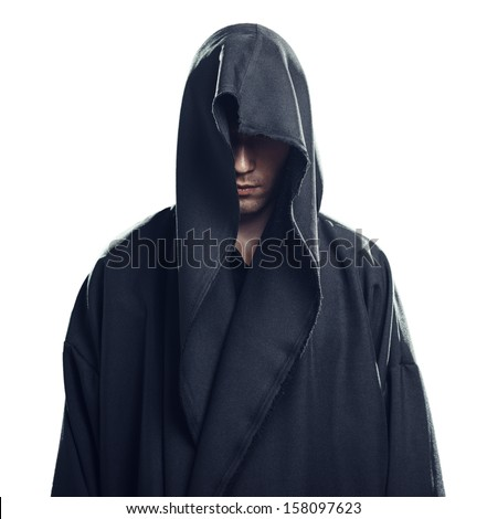 Portrait of a Man in a black robe on a white background - stock photo