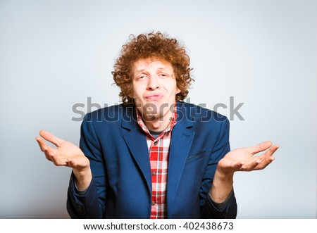 portrait of a man made a mistake, isolated on background - stock photo