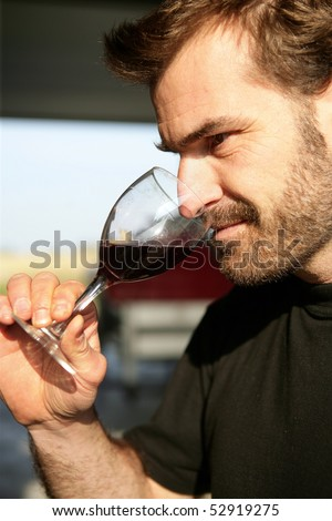 Portrait of a man smelling a glass of wine - stock photo