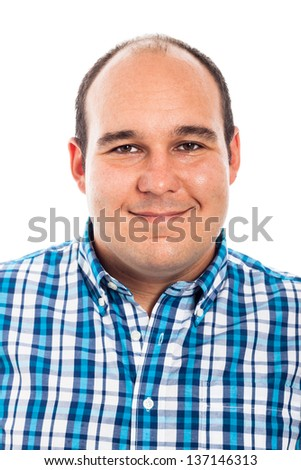 Portrait of a man smiling, isolated on white background - stock photo