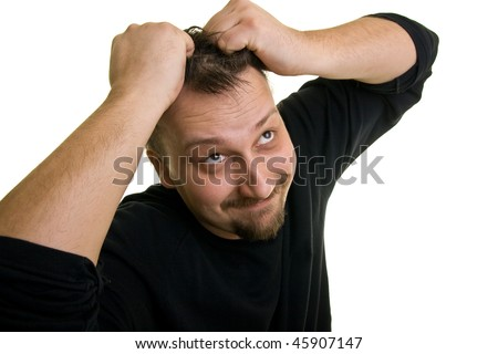 portrait of a man under stress on a white background - stock photo